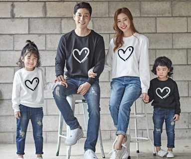 "<font color=""ffffff"">[Family long sleeve tee & family look] <br></font> Heart Heart Man to man family long sleeve_18C03"