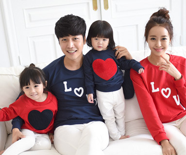 """<font color=""""ffffff"""">[Family long sleeve tee & family look] <br></font> Bookle Heart Man to man family long sleeve"""