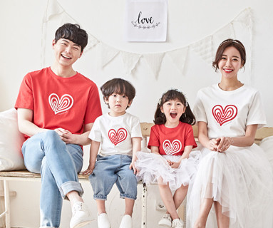 """<font color=""""ffffff"""">[Family short T-shirts Tee&family look] <br></font> family heart and round short T-shirts 20B02/ family look, family photo costume <font color=""""red""""><b> </b></font>"""