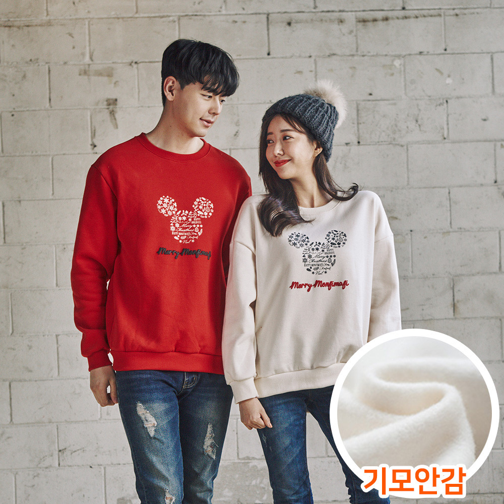 """<font color=""""ffffff"""">[Family Long Sleeve Tee & Family Look]<br></font> Brushed Snowflake Mouse Unisex Man to man 20D04<font color=""""red""""><b> </b></font>"""