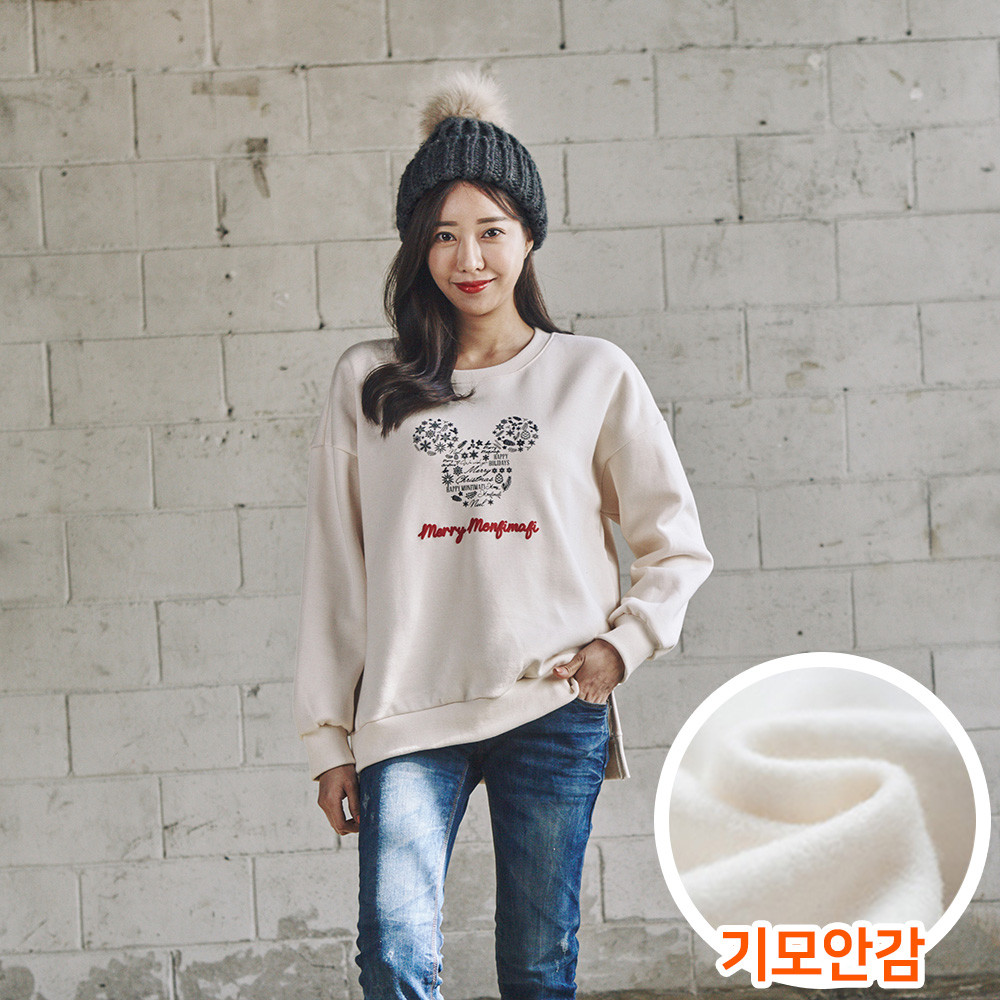 """<font color=""""ffffff"""">[Family Long Sleeve Tee & Family Look]<br></font> Brushed snowflake mouse women Man to man 20D04<font color=""""red""""><b> </b></font>"""