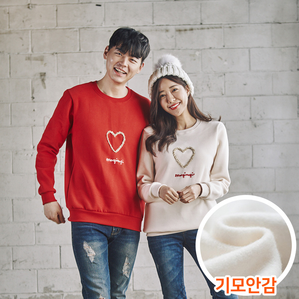 """<font color=""""ffffff"""">[Family Long Sleeve Tee & Family Look]<br></font> Brushed Gold Heart Unisex Man to man 20D05<font color=""""red""""><b> </b></font>"""