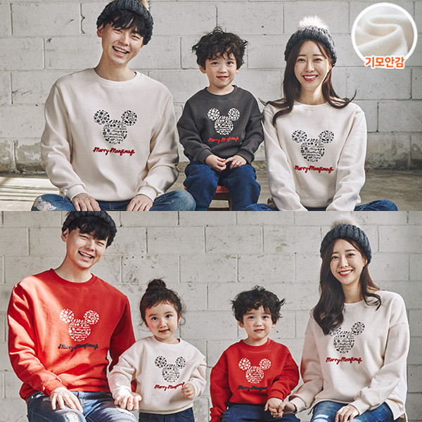 """<font color=""""ffffff"""">[Family Long Sleeve Tee & Family Look]<br></font> Brushed Snowflake Mouse family Man to man 20D04<font color=""""red""""><b> </b></font>"""