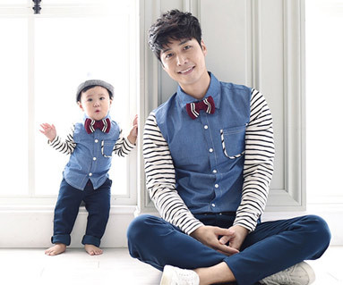 """Goodday Shirt + The Day Round daddy and baby long sleeve_15C08 <font color=""""#FF6666""""><strong>[Order available]</strong></font>"""