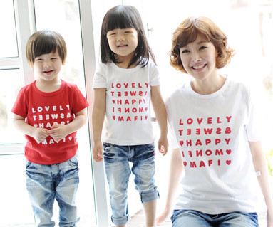 """Happy Party round Mom and baby short T-shirts_13B07 <font color=""""#FF6666""""><strong>[Order available]</strong></font>"""