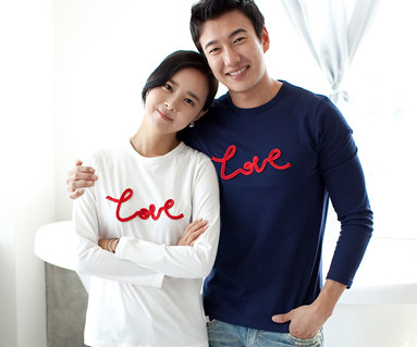 Chain embroidery round Couples long sleeve_11C01