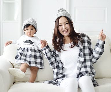 """Modern Check Mother and Baby long sleeve_16A05 <font color=""""#FF6666""""><strong>[Order available]</strong></font>"""
