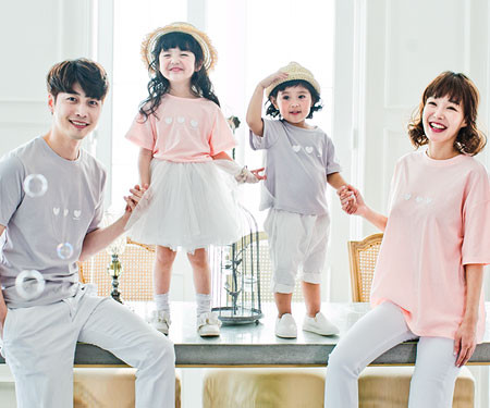 """Little heart family short T-shirts_17B08<font color=""""#FF6666""""><strong>[Order available]</strong></font>"""