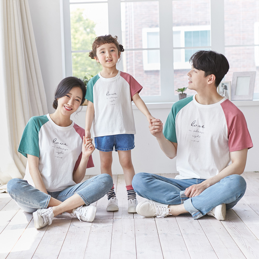 Color matching short T-shirts family 21B02/family look, family photo costume