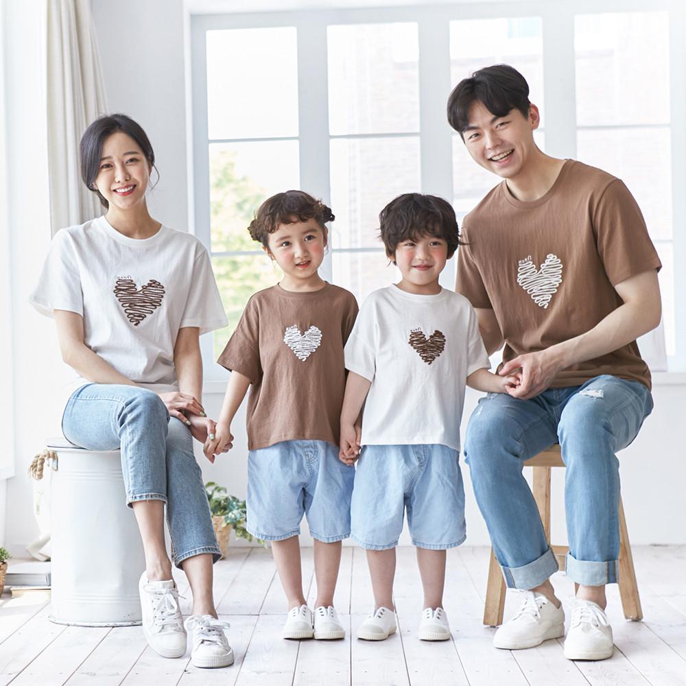 Chocolate Heart short T-shirts family 21B04/ family look, family photo costume