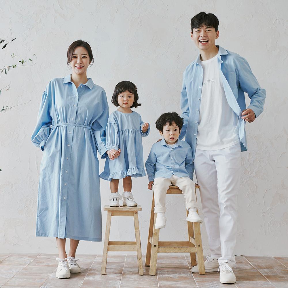 Holiday Blue long sleeve family 21C03/family look, family photo costume